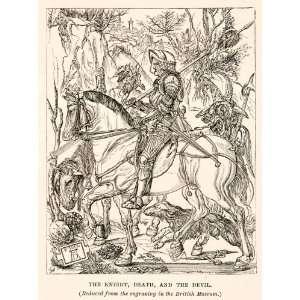 1882 Print Albrecht Durer Knight Death Devil Pale Horse