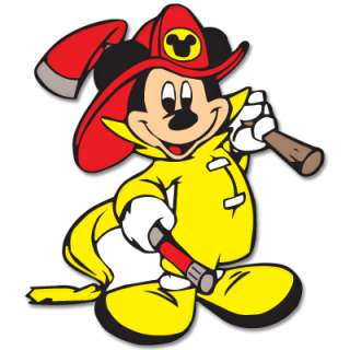 Mickey Mouse Fireman car bumper sticker decal 4 x 4