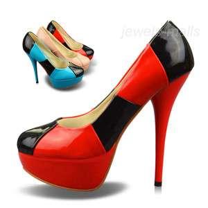 Sexy Slender Legs Womens Shoes Splice Stilettos High Heels Platforms