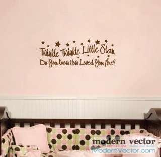 Twinkle Twinkle Star Vinyl Wall Quote Decal Nursery