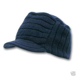 Navy Blue Jeep Flat Top Beanie Knit Cap Winter Hat