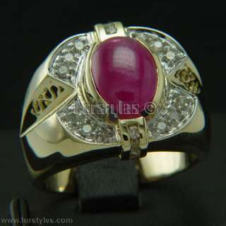 Natural Ruby Diamonds 14k Solid Gold Mens Ring r00060