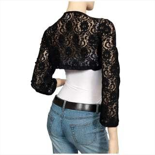 Black Long Sleeve Lace Plus Size Cropped Bolero Shrug