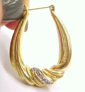 Diamond Chip Accented / Large 14K Solid Yellow Gold Hoop Earrings