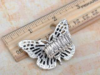 Big Antique Inspired Silver Tone Clear Crystal Rhinestone Butterfly