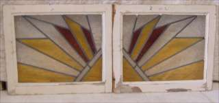 Pair of Antique Stained Glass Windows Art Deco Sun Rays