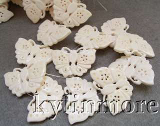 8SE08004a 30x45mm Ox bone Carved Butterfly Beads 15