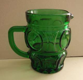 Vintage Emerald Green Glass Small Pitcher Creamer Jug LOVELY |