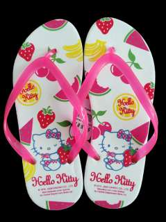NWT Hello Kitty Fruity Sandals Flip Flops With Hand Bag