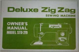 White STD 270 DeLuxe Zig Zag Sewing Machine Manual On CD