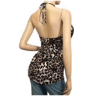 Plus Size O ring Accented Animal Print Halter Top