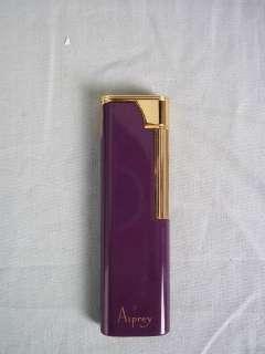 Asprey Purple Enamel & Gold Plated Lighter in Orig. Box