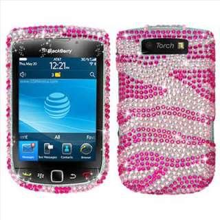 Pink Zebra Bling Hard Case Cover for BlackBerry Torch 9810 9800