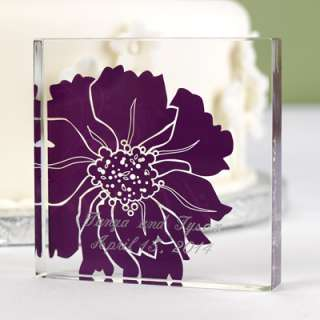 Personalized Acrylic Wedding Cake Topper Top Floral Purple Flower Plum