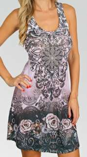 Gray Fleur Rhinestone Lace Racer Back Tank/Halter Dress S/M/L/XL