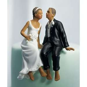 Cake Topper   Whimsical Sitting Bride and Groom