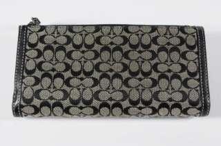 Coach Signature Khaki Canvas/Black Leather Checkbook Wallet Silvertone