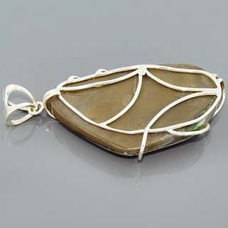 MultiColor Ammolite Peridot Gemstone 925 Sterling Silver Pendant