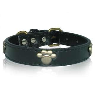 18 22 black Leather Vintage Paw Dog Collar large