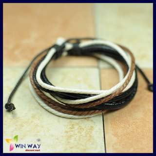 New Hemp Surfer Tribal Multi Strand Leather Bracelet