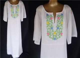 Embroidered Mexican White Maxi Dress Caftan Boho Hippie S M L