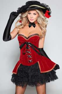 New Red Black Corset dress costume set size 8 10 12 14