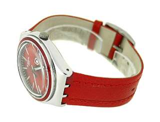 SWATCH SWISS RED LEATHER STRAP LADIES WATCH YGS746