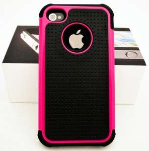 New PINK Apple iPhone 4 4S Hard Rubberized Silicone Case w/ Screen