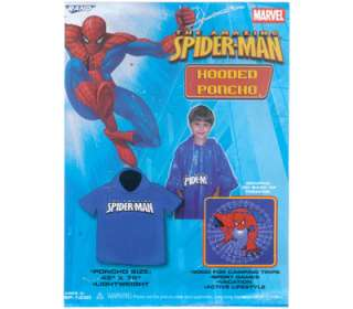 SPIDER MAN Boy Blue Rain Hooded Poncho 45 x 72 NIP