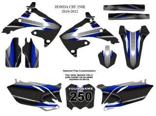 Honda CRF 250R 2010   2012 MX Bike Graphic Sticker Decal Kit #5600BLUE