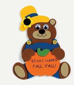Beary Happy Fall Yall Foam Magnet Craft Kit Kids Fun