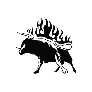 Bull Wild Fight Flame   Animal Decal Vinyl Car Wall Laptop