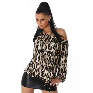 Top Long pullover Shirt 3/4 Sleeves Brown Leopard Sexy woman
