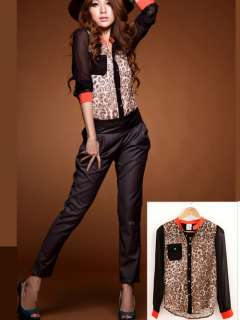 STAND UP COLLAR LEOPARD PRINT CHIFFON LONG SLEEVE SHIRT 2333