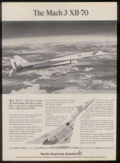 1965 USAF XB 70 plane North American Aviation print ad