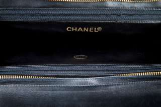 Chanel Black Lambskin Leather Vintage Tote Bag NR
