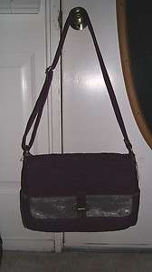 Fossil Key Per Messenger X Large Purple Quilted Handbag Authentic $118