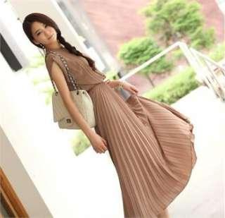 Korean Women Pleated Slim Long Dress One Piece WD008