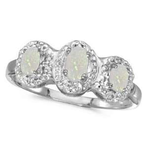 Opal and Diamond Three Stone Ring 14k White Gold Allurez Jewelry