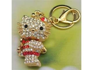 Fashion HelloKitty Swarovski Crystal Angel Cat Keychain Red