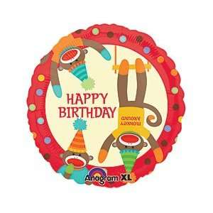 Happy Birthday Sock Monkey Polka Dots Cartoon Red Hats