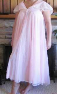 VTG Sweet & Sexy PINK Negligee/Peignoir Set Chiffon / Nylon Full Sweep