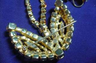 1050  OLD RHINESTONE DRAGONFLY BROOCH EARRINGS TANGO TANGERINE