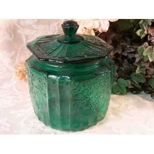 Mayfair Style GREEN GLASS Cookie Jar