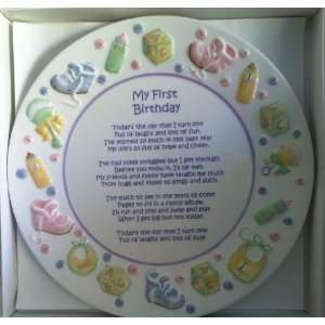 First Birthday Poem and Art Work on a Plate Gift Hand