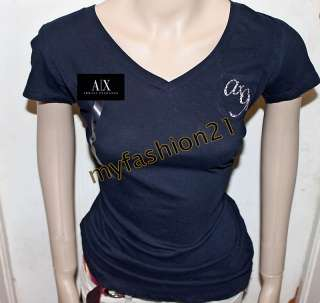 NWT Armani Exchange A/X AX WOMEN Angels wings V Neck T Shirts top