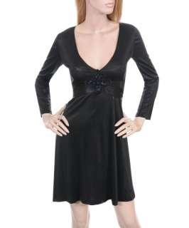 New Womens Day/Evening Long Sleeve Dress Black S M L