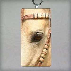 Horse Altered Art Glass Tile Necklace Pendant 424