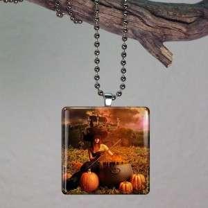 Halloween Witch Cauldron Pumpkin Glass Tile Pendant 321