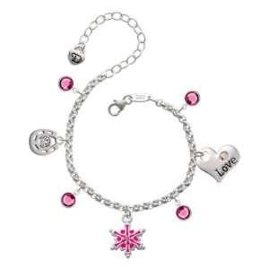 Hot Pink Snowflake with Rose Swarovski Crystal Love & Luck